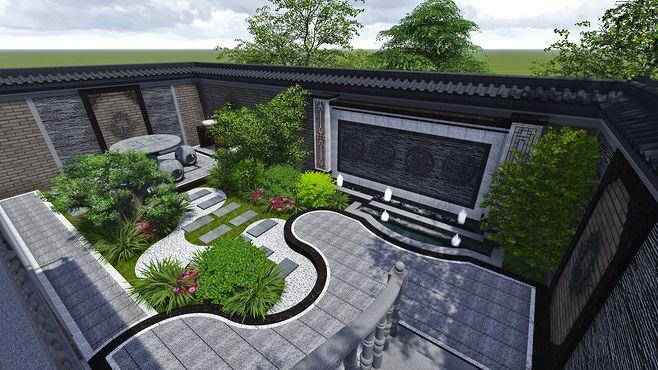 灰色调中式庭院